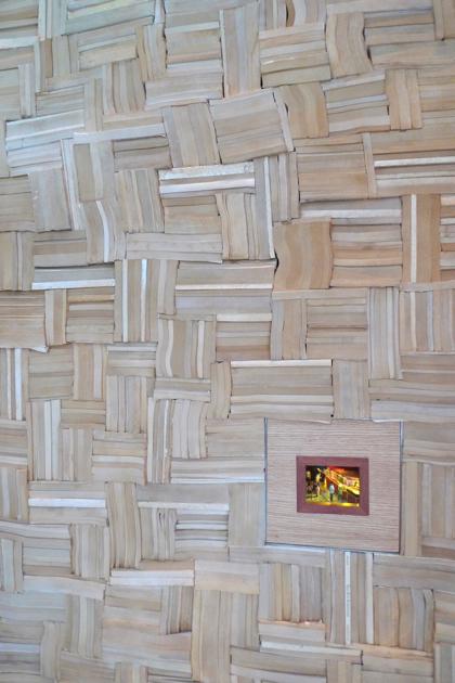 brushstroke wall of books by tribeca citizen