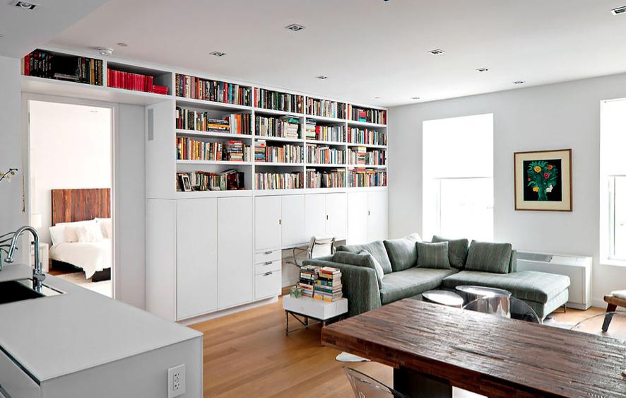 Tribeca citizen stone loft living room for Muebles departamento pequeno