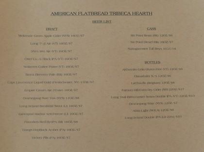 American Flatbread Tribeca Hearth beer menu