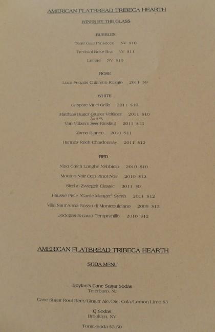 American Flatbread Tribeca Hearth wine list