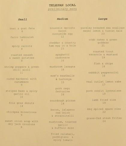 telepan preliminary  menu