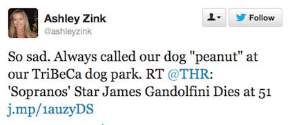 tweet Gandolfini peanut