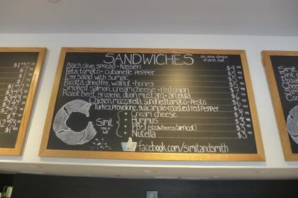 Simit and Smith sandwich menu