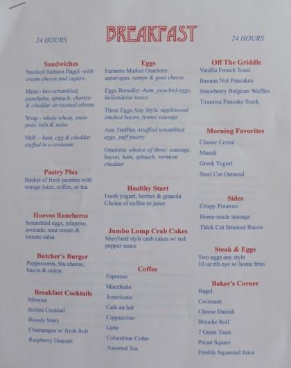 Tribeca Grand cafe menu1