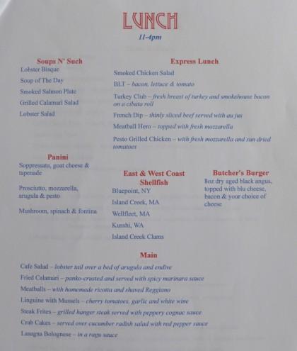 Tribeca Grand cafe menu2
