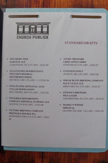 Church Publick beer menu2