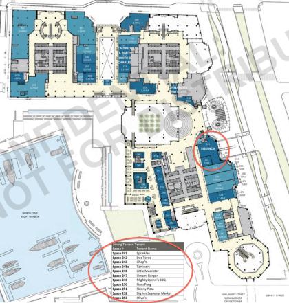 Brookfield Place second floor floor plan with tenants