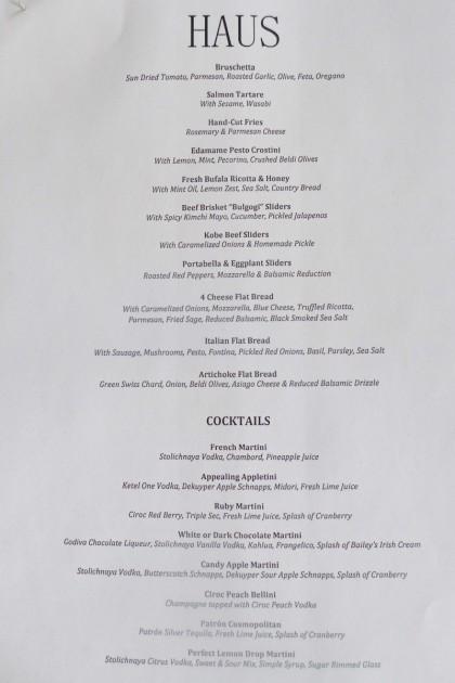 Haus menu