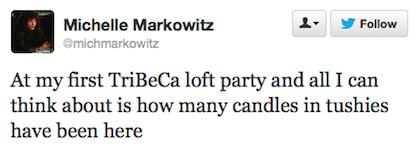 tweet candles in tushies