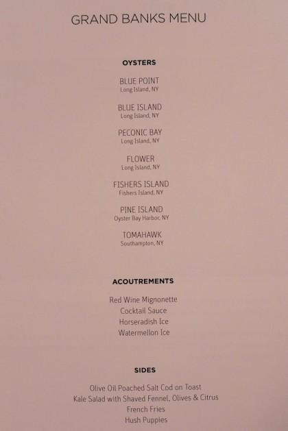 Grand Banks menu