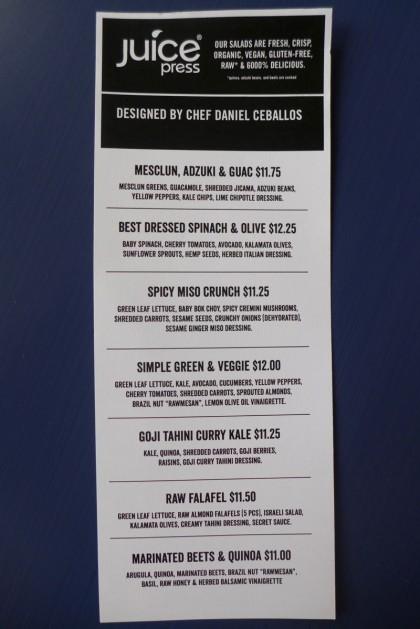Juice Press Tribeca salad menu