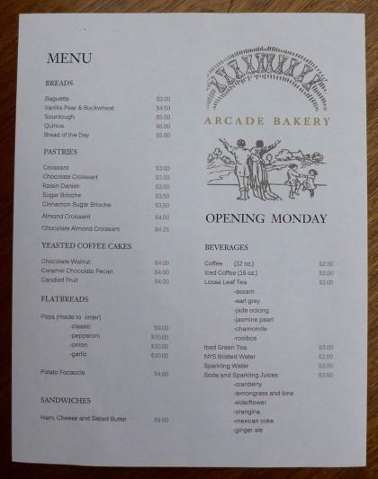 Arcade Bakery menu