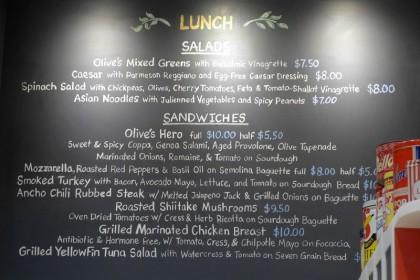 Brookfield Place Hudson Eats Olives menu