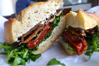 Olives roasted shiitake sandwich