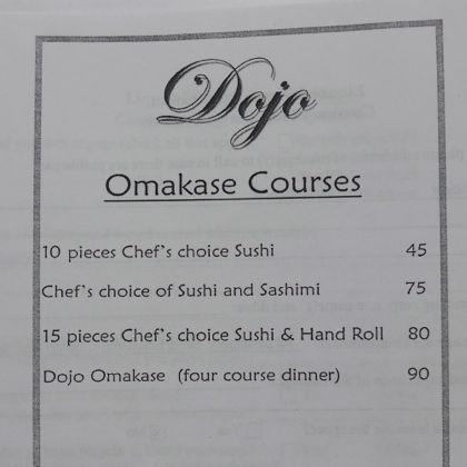Dojo Tribeca omakase menu