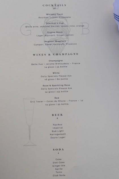 Grand Banks menu drinks