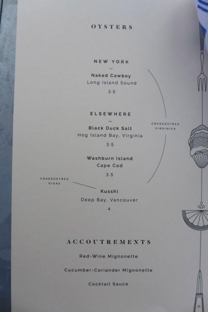 Grand Banks menu oysters
