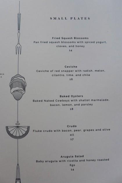 Grand Banks menu small plates