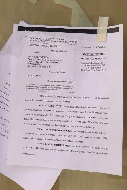 66 Leonard eviction notice