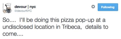 Devour pizza pop-up tweet