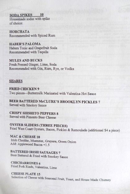 Tara of Tribeca menu1