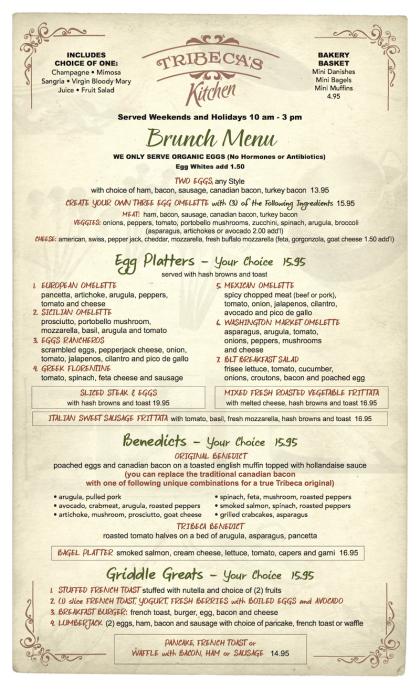 Tribecas Kitchen brunch menu