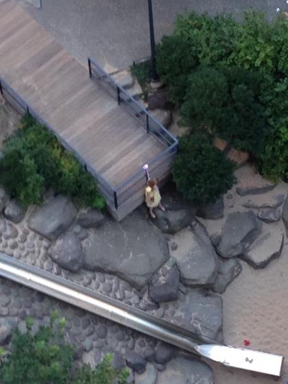 simulated suicide in Teardrop Park