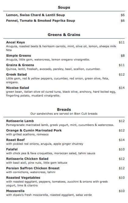 Olives and Orange delivery menu