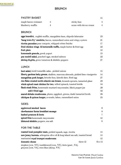 white street brunch menu