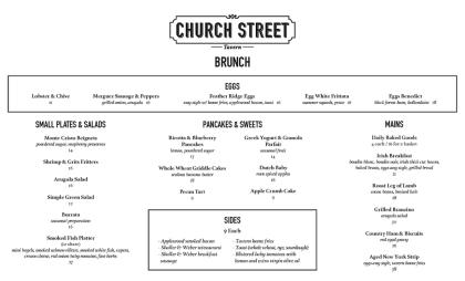 Church Street Tavern brunch menu