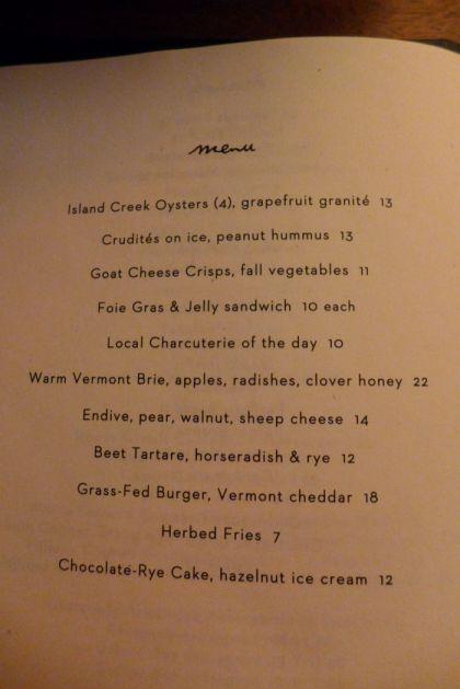 Evening Bar food menu