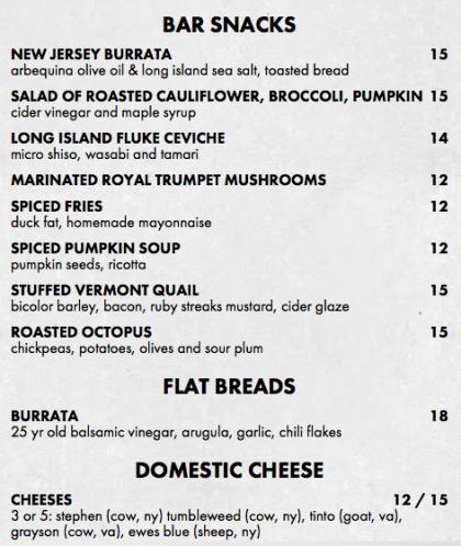 White Street bar menu