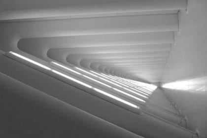 World Trade Center West Corridor lights bw