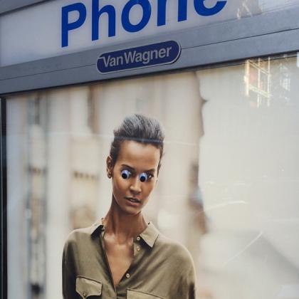 Googly eyes on Warren instagram by Tribeca Citizen