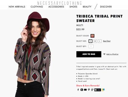 Necessary Clothing Tribeca Tribal Print Sweater