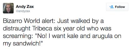tweet kale and arugula