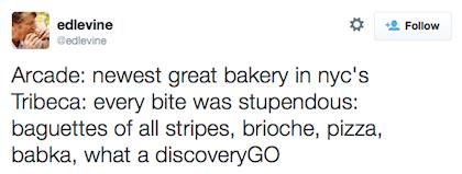 Arcade Bakery tweet