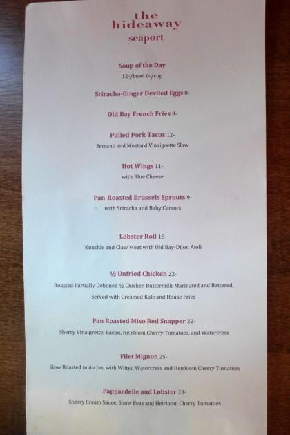 The Hideaway Seaport dinner menu