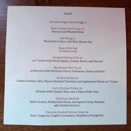 The Hideaway Seaport lunch menu