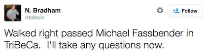 tweet Michael Fassbender