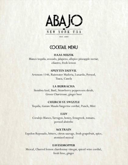 Abajo drinks menu