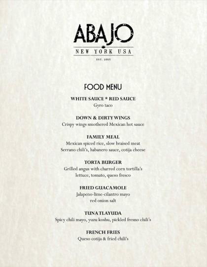 Abajo food menu