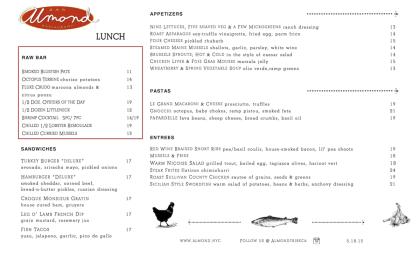 Almond lunch menu