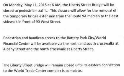 Liberty Street Bridge closing notice