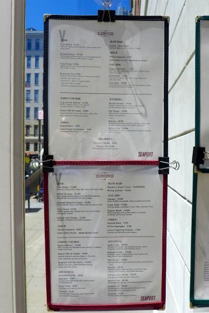 VBar Seaport menu