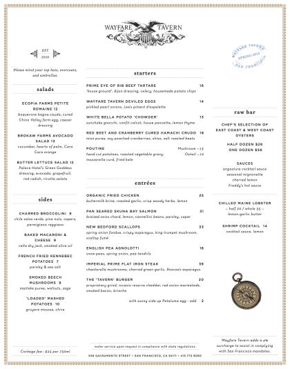 Wayfare Tavern dinner menu