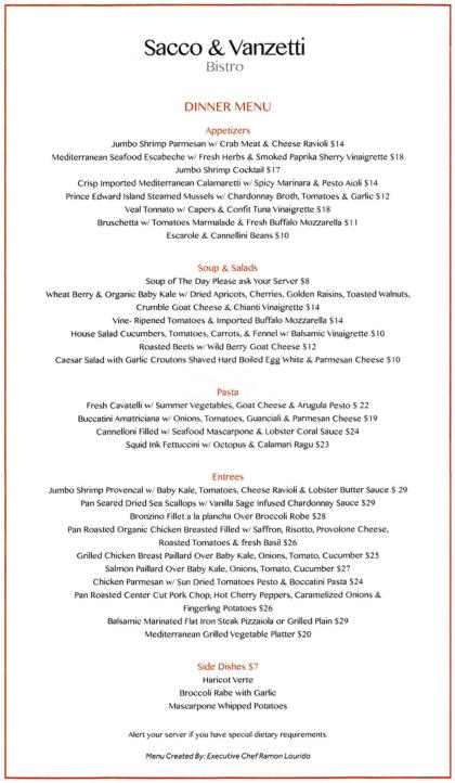 Sacco and Vanzetti Bistro dinner menu