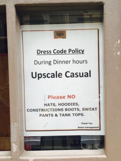Sazon dress code by a reader