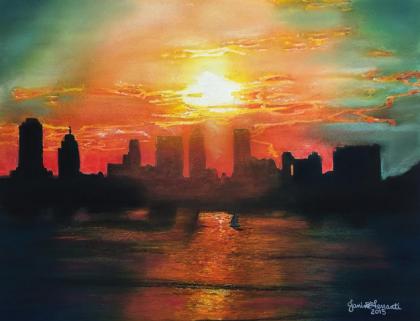 Loopy Doopy sunset watercolor by jmferrantiart