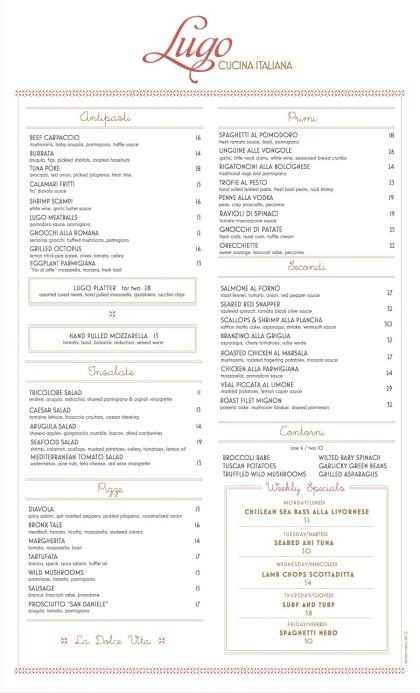 Lugo dinner menu